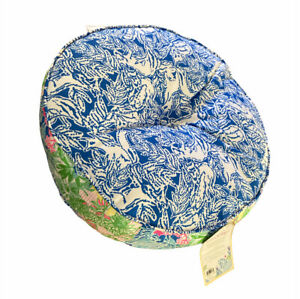 LILLY PULITZER INDOOR OUTDOOR CHEEK TO CHEEK ROUND CHAIR CUSHION GUSSET PILLOW