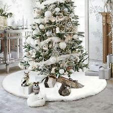 2020 Christmas Tree Skirt Large White Luxury Faux Fur Snowflakes  Xmas Floor Mat
