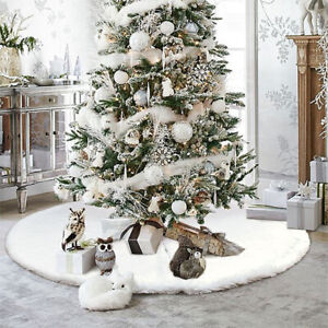 2020 Christmas Tree Skirt Large White Luxury Faux Fur Snowflakes  Xmas Floor Mat