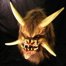 Demon Devil Deamonic Beast Monster Horned Latex Halloween Mask Moving Mouth