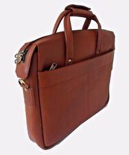 "Hommes cuir véritable sac d'ordinateur portable 13"" mallette Messenger Sac manbag marron clair NEUF"
