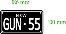 CUSTOM MOTORBIKE NUMBER PLATE DECAL 186MM BY 100 MM GLOSS LAMINATED