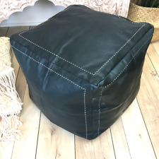 Square Moroccan Leather Ottoman Pouffe Pouf Footstool Coffee Table In Black