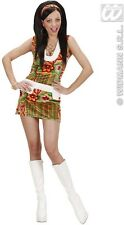 Ladies 60's 70's Mod Girl Velvety Psychedelic Fancy Dress Outfit Size 10-14