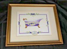 "Le Bain des Anemones French Bathtub Art Print 9"" X 7"" Gold Framed 13"" x 11"""
