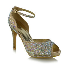 Womens Bridal Peep Toe Platform Ankle Strap HeelsLadies Diamante Court Shoes 3-8