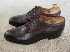 Meermin Mens Oxford Burgundy Brown Antique Shoes UK10 Grain Leather Goodyear