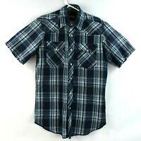 Wrangler Mens Western Shirt Size Small Blue Plaid Short Sleeve Pearl Snap