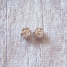 Pack of 2 ~ 4mm Sterling Silver Rose Flower Spacer Beads Small