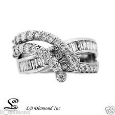 Unique Coctail Diamond Ring 1.91ct Baguette Round Cut Diamonds 18k White Gold