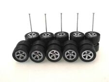 (NEW) Hot Wheels 5 Spoke (Dark Chrome) SAKURA Rubber Tire for JDM - 5 sets