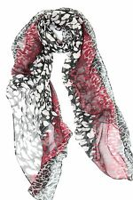 B29 Mixed Leopard Animal Print Red Black Gray Wrap Shawl Scarf Boutique