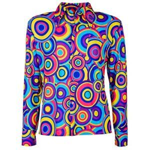 Schlager Outfit Kultiges 70er 80er Jahre Herren Hemd Disco Kostüm - bubbles blau