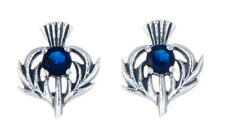 Sterling Silver Thistle Stud Earrings with a Septetmber Birthstone Centre