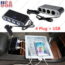 1X 12V LED Triple Car USB Cigarette Charger Adapter w/ Switches Socket Splitter