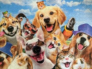 "Ceaco Summer Fun Selfies Jigsaw Puzzle 550 Pieces 24""x18"" Complete Pets Dogs USA"
