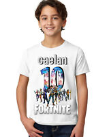 FORTNITE BOYS PERSONALISED BIRTHDAY T-SHIRT/AGES 3-14