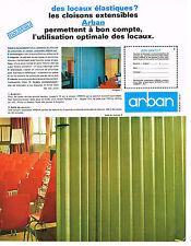 PUBLICITE ADVERTISING   1965    ARBAN   cloisons extensibles