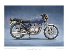 """Honda CB400 Four (1975) blue - Limited Edition Art Print 20""""x16"""" by Steve Dunn"""
