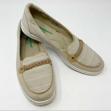 Grasshoppers Ortholite Women's Tan Canvas Comfort Braided Trim Loafers Size 7.5M