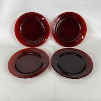 "Vtg Anchor Hocking Royal Ruby Red Depression Glass Dinner Plates 8"" Set Of 4"