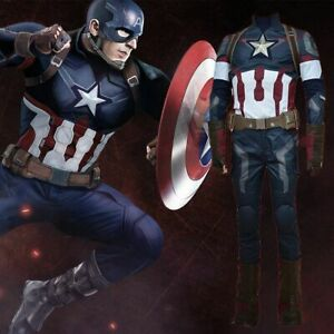 The Avengers Age of Ultron Captain America Cosplay Steve Rogers Costume Outfit