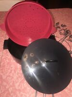 Tupperware  ~ Steamer Strainer Cooker Black Red Gray  #3066 ~ 3 Piece