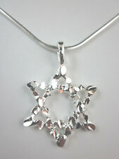 "Silver Plated Large Star of David Diamond Cut Pendant 20"" Square Snake Chain"