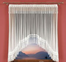 Amazing Ready Made White Jardiniere Net Curtain with Guipure Lace 150cm x 150cm