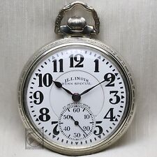 1929 Illinois 23 JEWEL 60HR Bunn Special RAILROAD Grade Pocket Watch 16s USA