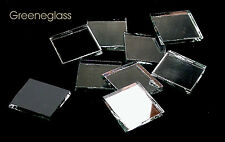 """25 Silver Mirror 1"""" Square Hand Cut Stained Glass Mosaic Tiles"""