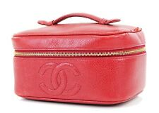 Authentic CHANEL Red Caviar Leather Cosmetics Vanity Pouch Bag #24920A