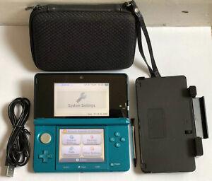 *Nintendo 3DS: Aqua Blue Handheld Console, Stylus, Charger, Cradle & Case*