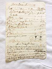 Manoscritto 1728 acquisto generi alimentari Bologna conte Baldi