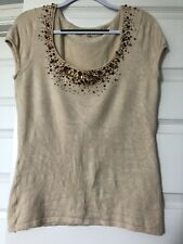 Cache Sparkly Beige Shirt Large