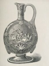 Antique Engraving Tiffany Vase Dogs Art Journal 1875