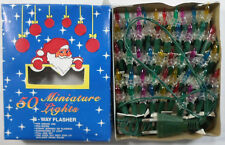COLLECTIBLE VTG 80's CHRISTMAS TREE FLASHING LIGHTS x 50 INDOOR UNUSED IN BOX
