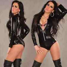 Black Romper spandex bodysuit clubwear PVC wet look No2 fits 8/10/12