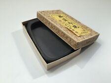 Japanese Ink Stone Suzuri Vtg Calligraphy Tool Shodo Black Square Kuretake q147