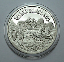 Rare WELLS FARGO 150th ANN. 1852-2002 1 Troy oz.999 Silver PROOF Round Coin