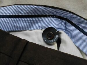 GENTS MENS HACKETT LONDON BROWN TROUSERS 5 POCKET 34W 28L ~ MOST EXCELLENT