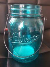 Blue Glass Tea Light Holder Garden Jar Hanging New