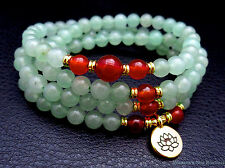 108 Prayer bead aventurine necklace w/ red agate and gold plated lotus