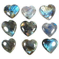 9 Pcs Natural Labradorite Heart Flashy Top Quality Loose Gemstones 30.76mm-34mm