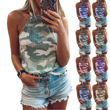 Summer Women's Camouflage Print Vest Sleeveless Halter Casual Loose Tank Tops