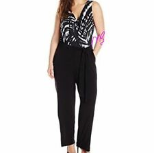 NY Collection NEW Black White Sleeveless Printed Belted Jumpsuit Poly Spandex 2X