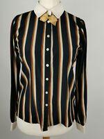 Miss Patina Blue Silk Blend Stripe Modest Smart Blouse Shirt Size S 10