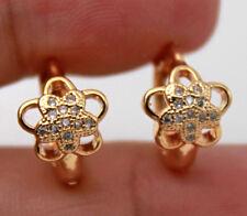 18K Gold Filled - Hollow Flower Plum Blossom Topaz Zircon Party Hoop Earrings
