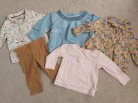 ALL NEXT girls 6 - 9 Month Bundle Long Sleeve Tops Shirts Leggings Spring Summer