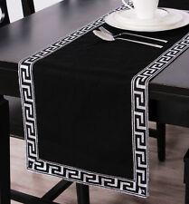 Black Sliver Table Runner Linen Home Decoration Greek Key Pattern 180cm